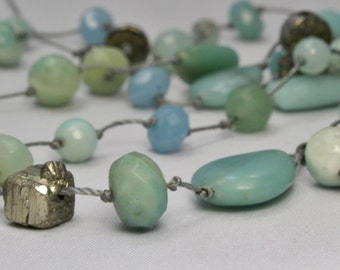 Aqua, pyrite hand wrapped gemstone wrap necklace, amazonite and pyrite long layered necklace, boho necklace, faceted stones