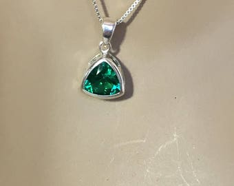 Lab created emerald etsy lab created emerald pendant mozeypictures Image collections