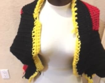 crochet red and black with yellow trim
