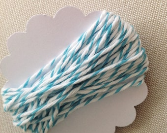 5m Aqua Divine Twine - 5.4 yards aqua & white striped cotton string - gift wrapping supply - baked goods - goody bag