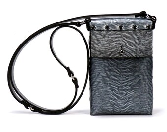 Pewter Mobile Bag | Dark Silver Cell Phone Bag | Vegan | Made in USA