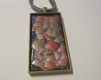 Handcrafted  Egg Shell pendant necklace in metallic pinks