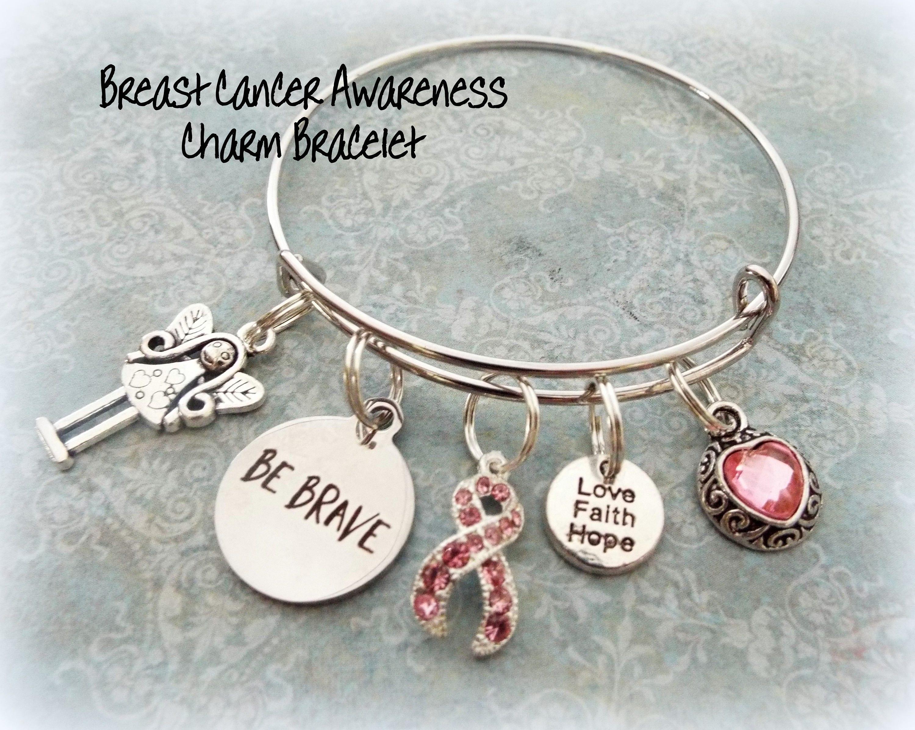 pin chemo be brca breast cancer gift bracelet keychain encouragement awareness pink survivor ribbon strong mastectomy