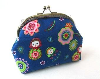 Matryoshka purse, russian doll frame bag, blue makeup bag, kiss lock clasp bag, silver purse frame