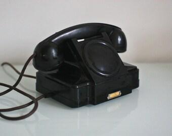 Vintage rotary phone - Black telephone - Vintage telephone - Soviet Vintage Desk Phone