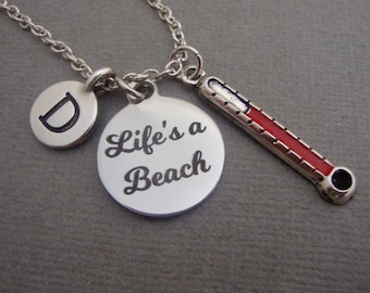 Life's A Beach Necklace, Life's A Beach Red Hot Thermometer Keychain Keyring, Beach Lovers Summer Bangle Bracelet, Vacation Charm Jewelry