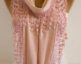 Pink Salmon Lace Scarf Spring Shawl Scarf Oversized Scarf Spring Scarf Lace Shawl Scarf Fashion Women Accessories Gift For Her DIDUCI