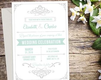 Rustic Wedding Invitation Setup, Vintage Wedding, Rustic Wedding, Printable Wedding, Invitation template, Wedding invitation, DIY wedding