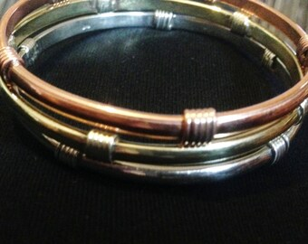 Silver , copper, brass bangles. Set of 3 bangles