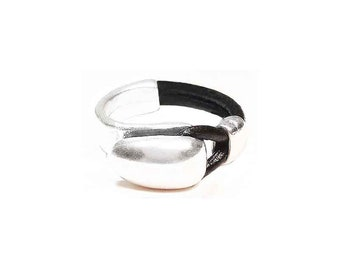 Unisex ring in leather and Zamak Goodward Ref: A 046