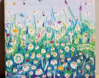 Flower meadow print, on a stretched canvas. Dreaming of summer.  Perfect gift for someone else or for yourself!