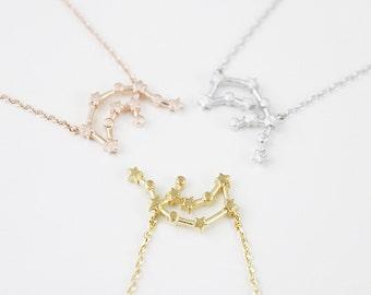 Rose Gold Aquarius Constellation Necklace Aquarius Necklace Zodiac necklace Constellation Jewelry Birth Signs