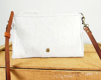 Leather Foldover CrossBody Bag Minimalist Style Purse
