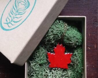Enameled Canadian Maple Leaf Necklace