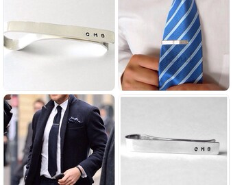 Tie Bar Clip, Personalized Jewelry, Custom Tie Bar, Personalized Accessories, Groomsmen Gift, Gift for Him