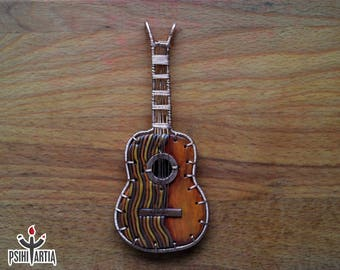 Polymer clay guitar Guitar necklace Guitar pendant Guitar jewelry Guitar lover gift Music lover gift Wire wrapped guitar Copper guitar jewel