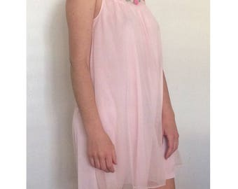 1960s Pink Chiffon Nightgown with Rosette motif