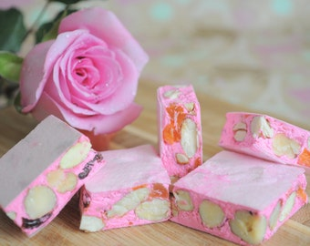 Nougat with Rose water, Apricot, Cherries and Almonds, Half pound of handmade Candy, Torronne, Italian confection Gluten free sweets