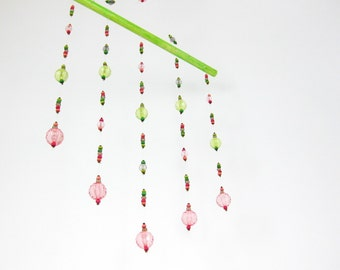 Hanging Mobile, Pink Green Beaded Nursery Light Catcher, Window Ceiling Hanging, Baby Girl Gift, Beads Wall Decoration, Sun catcher No.43