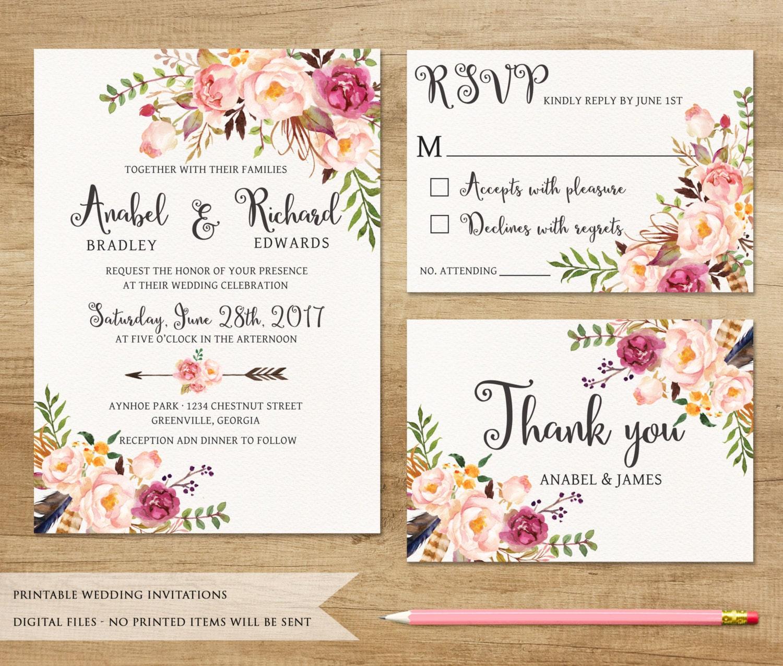 Floral Wedding Invitation Printable Wedding Invitation