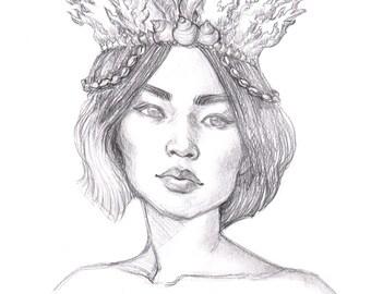 Coral Princess ORIGINAL Drawing