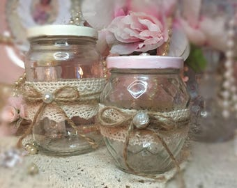 2 Glass Shabby Chic Jars Decoupage Roses Lace Handcrafted Storage Canister Set Vanity Kitchen Dorm Home Office Gift Sweet Vintage Designs