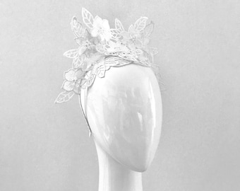 ABBY  white lace crown ears   fascinator 94818a0ec61