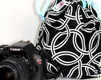 Designer Fabric dSLR camera Drop in Bag - Pouch Gift for Photographer