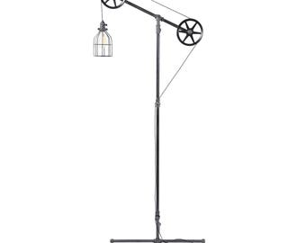 Industrial Floor lamp - Floor Light - Pulley Light - Pipe Furniture - Pipe Lighting - Industrial Lamp - Industrial Chic