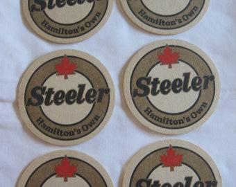 6 Steeler Beer - Hamilton, Ontario Beer Coasters