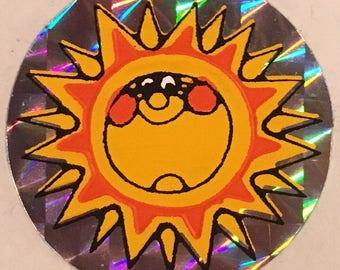 Sunshine vintage sticker, sunny metallic sticker, 1980's