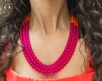 Beaded Multi Strand Statement Necklace, Big Chunky Statement Necklaces, Hot Pink Bead Necklace,Multi Strand Statement Necklaces,Big Necklace