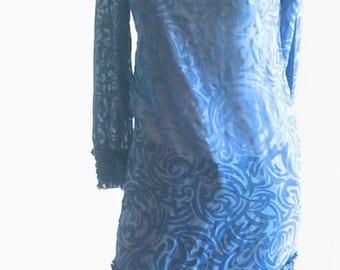 Vintage Vicky Vaughn Dress / 60s cotton dress / vintage blue floral shift / summer dress / boho dress / wardrobe prop