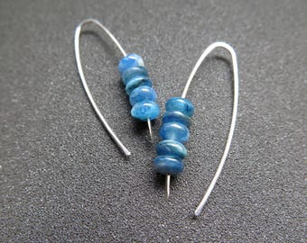 blue apatite earrings. turquoise jewelry. sterling silver earwires. blue gemstone jewellery. splurge.