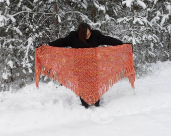 Handmade Triangle Shawl, Crochet Shawl, Winter Accessory in Orange and Yellow, Christmas Gift, Crochet Wool Shawl, Crochet Lace Shawl