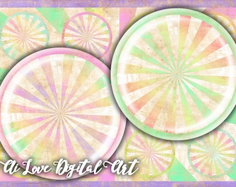 Digital collage sheets 1.5 inch, 30 mm, 1 inch circle download cabochon, Pastel Vintage shabby chic digital printable images, jewelry making
