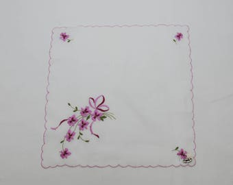 Delicate Vintage Embroidered Purple Violets Handkerchief (c. 1950's-1960's) Made In Switzerland, Original Marshall Field Price Tag, Spring