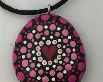 Mandalastein pendant, love-heart, unique