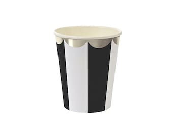 Toot Sweet Black Striped Paper Cups, Meri Meri, Party Decor, Party Supplies, Tableware, Pirate, Party Theme