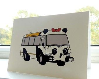 Card Panda bus / Illustration / Japanese cardcollection / Ueno Zoo Tokyo Japan / Blank A6 card