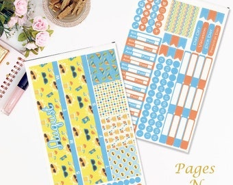 August Monthly Planner Sticker Kit for Erin Condren Life Planners/ Functional Stickers/ Monthly Sticker Set