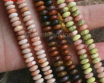 Semi Precious Stone Spacer Beads for Handmade Jewelry Making, Bloodstone/ Pink Jasper/ Pink and Green Jasper 3*6mm Rondelle Beads (WM241)