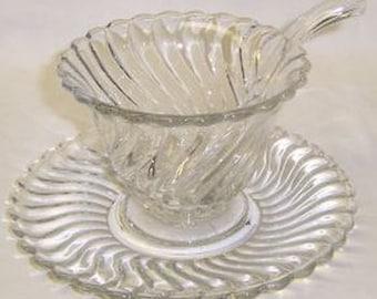Fostoria Crystal COLONY Elegant Glass  Piece Mayonnaise Set