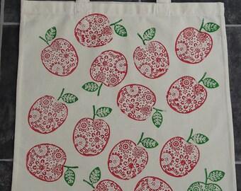 apple hand blockprinted tote bag