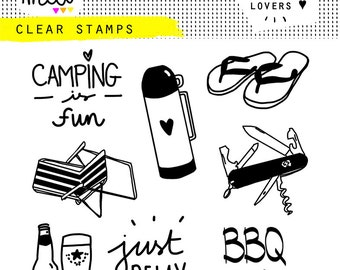 stamp clear camping fun set barbecue bbq relax chair Thermos swiss knife flip-flop summer festival