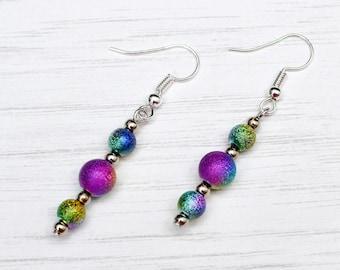 Rainbow earrings, ombre earrings, metallic earrings, multicoloured earrings, rainbow beads, gift for teens, teen gift, bag stuffers