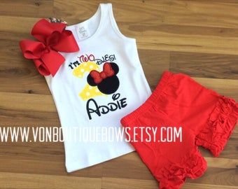 Red yellow mouse bow Personalized Boutique Number Birthday two 2nd flutter Girls Applique Short Long Sleeve Shirt Tank icing shorts outfit
