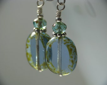 Simple Blue and Green Czech Glass Earrings in Silver