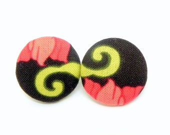 Fabric Button Earrings - Brown, coral and green swirl