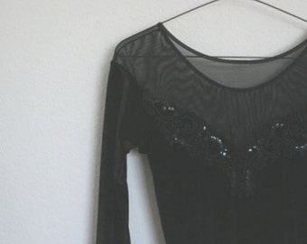 vintage black sheer cut leotard